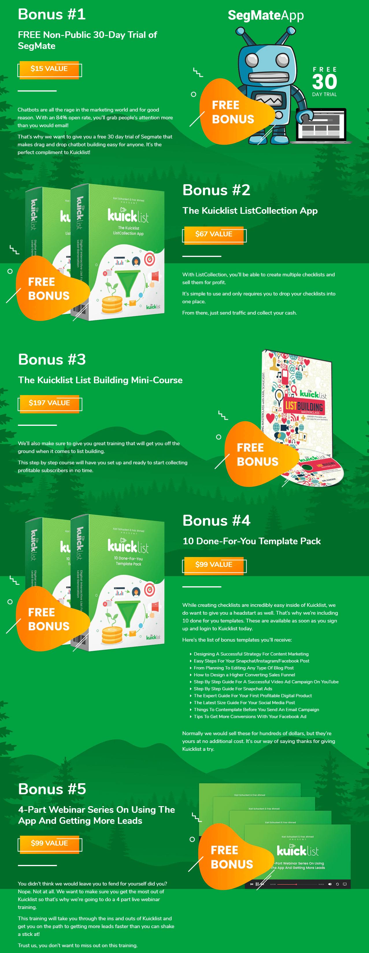 Kuicklist-Bonuses