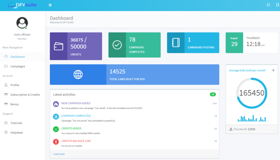 dfy suite dashboard