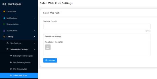 Setting up web push notifications in Safari