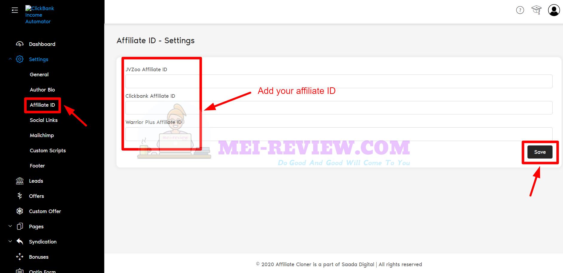 Clickbank-income-automator-step-3-add-ID