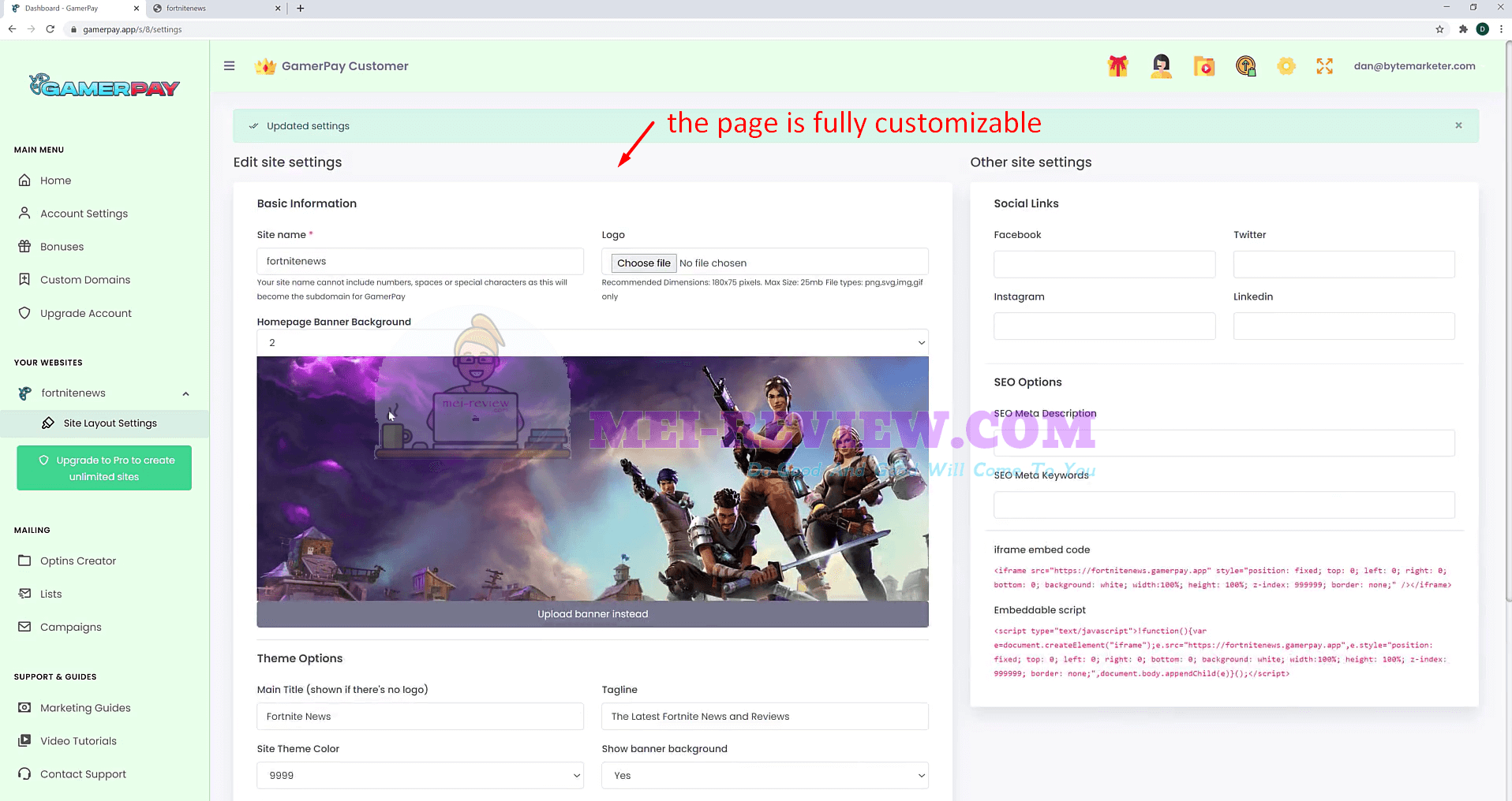 Gamerpay-Demo-7-customize-page