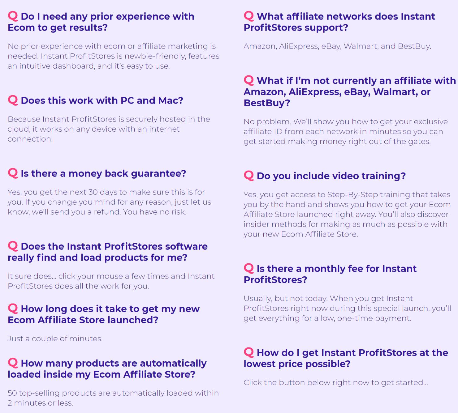 Instant-Profitstores-FAQ