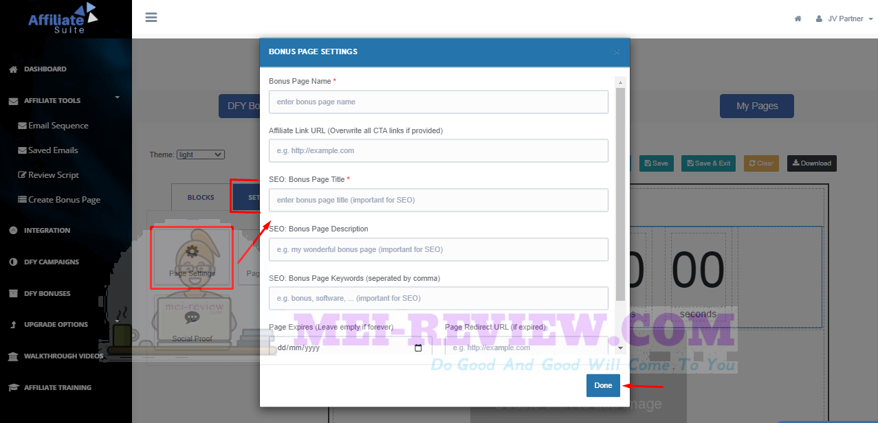 AffiliateSuite-demo-15-bonus-page-customization