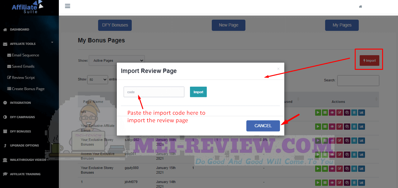 AffiliateSuite-demo-17-import-page