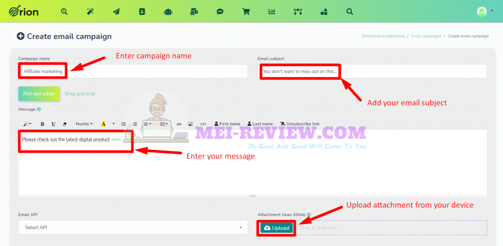 Orion-traffic-app-demo-13-customize-email-campaigns
