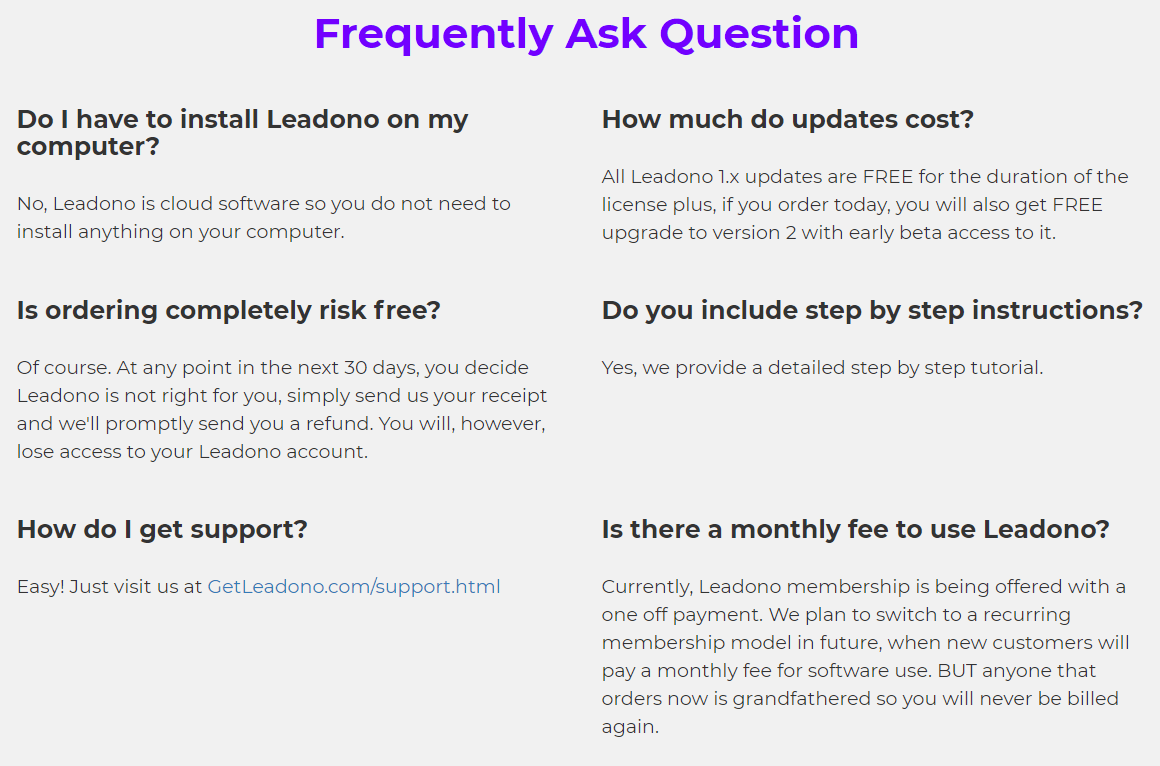 Leadono-faq