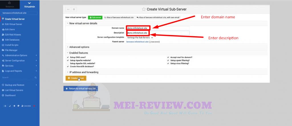 Infinite-Hosting-demo-1-create-virtual-server