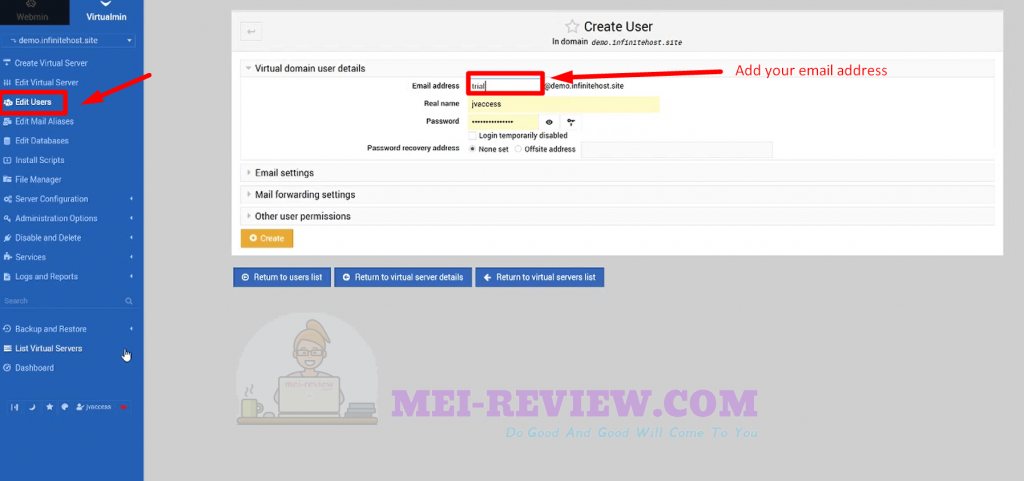 Infinite-Hosting-demo-6-create-user