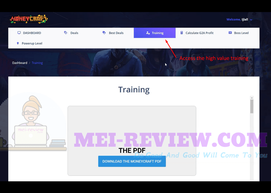 MoneyCraft-Demo-10-training-section