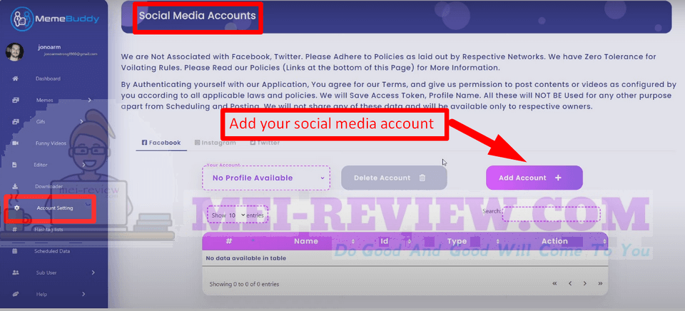 MemeBuddy-demo-6-Integrate-Your-Social-Media-Accounts