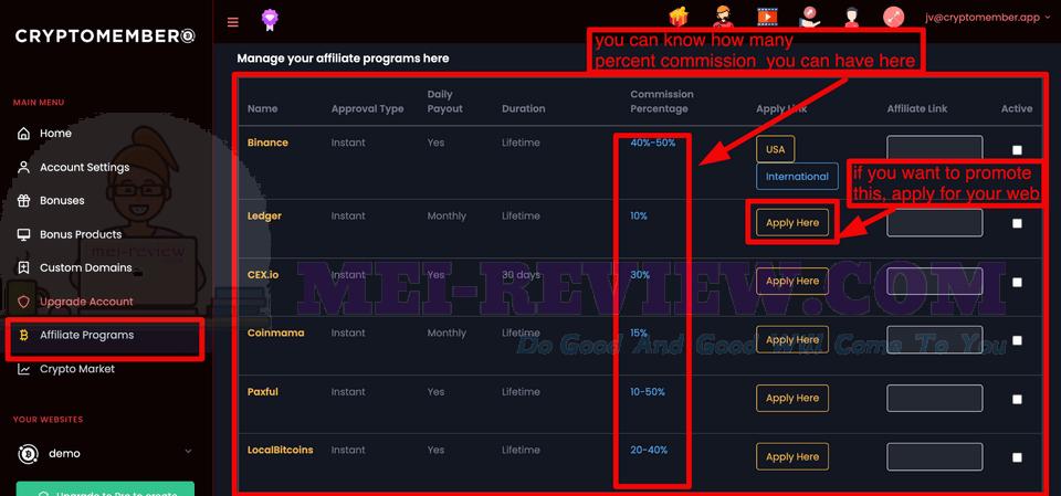 CryptoMember-Demo-5-affiliate-program